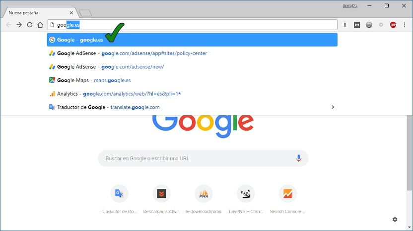 Google Chrome corrige URL